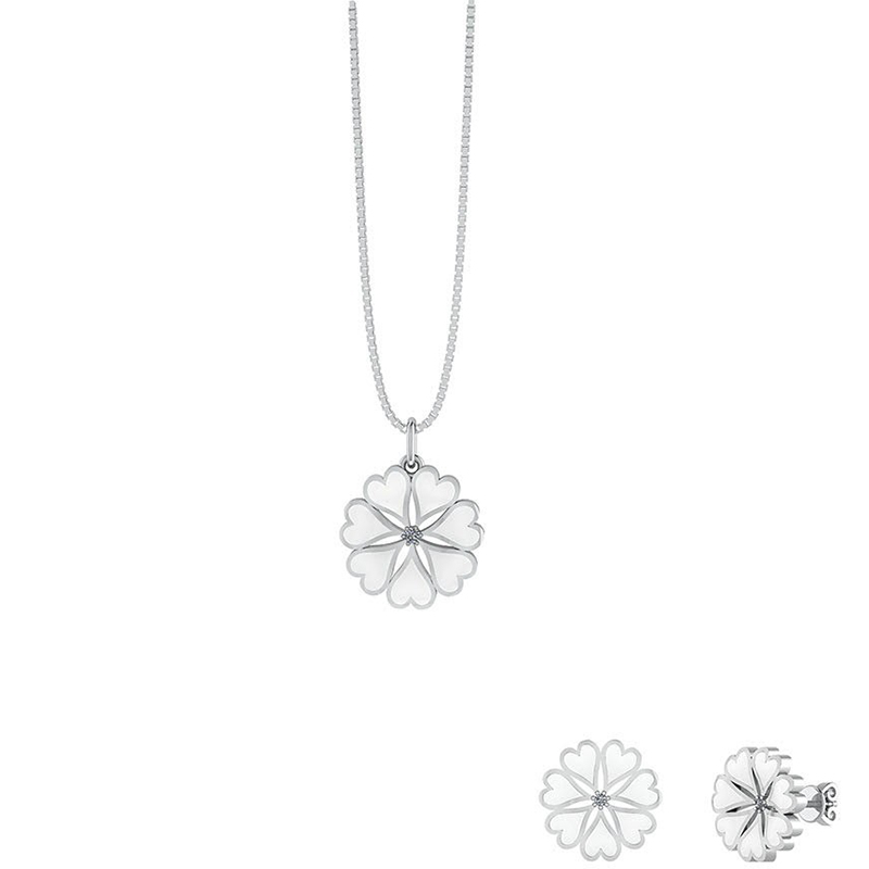 Image of   Smørblomst Sterling Sølv Smykkesæt fra Smykkekæden med Hvid Lak