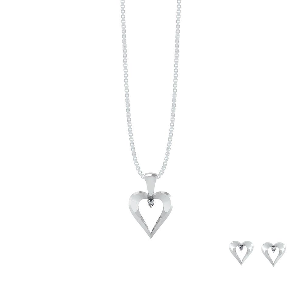 Image of   Hjerte Sterling Sølv Smykkesæt fra Smykkekæden
