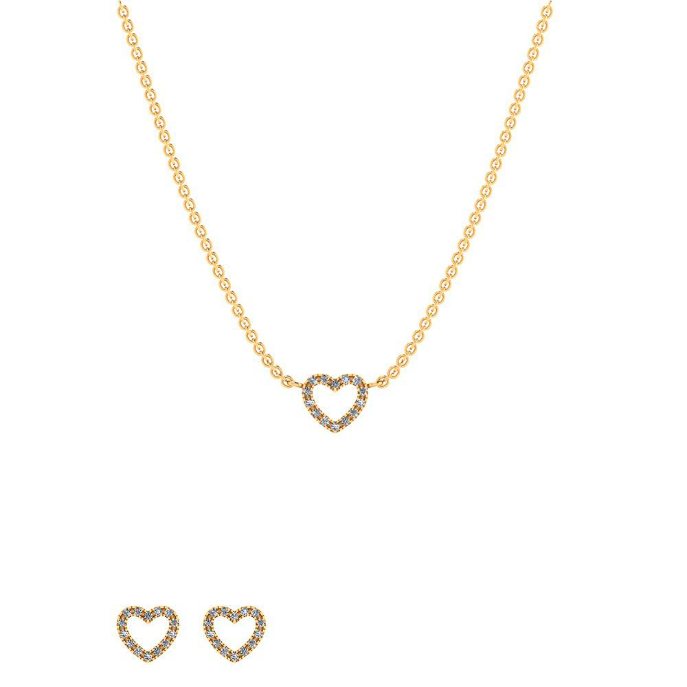 Image of   Smykkekæden Smykkesæt i Sterling Sølv med Hjertemotiv SÆT553