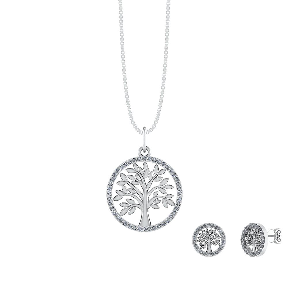 Image of   Smykkekæden Livets Træ Sterling Sølv Smykkesæt