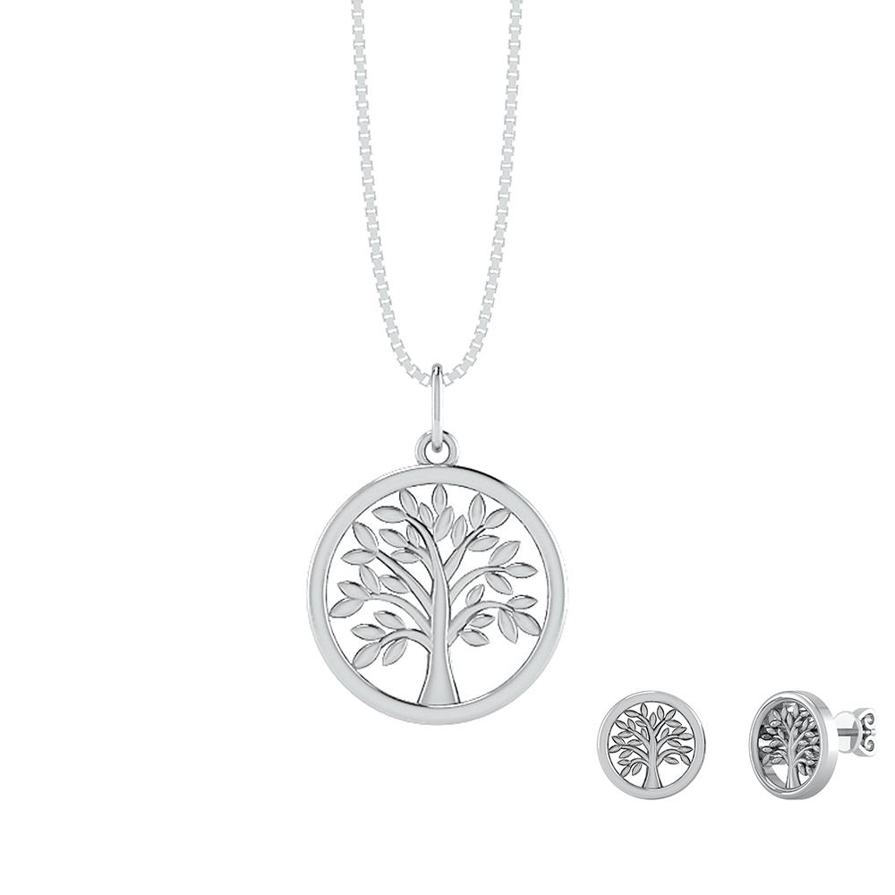Image of   Smykkekæden Livets Træ Smykkesæt i Sterling Sølv