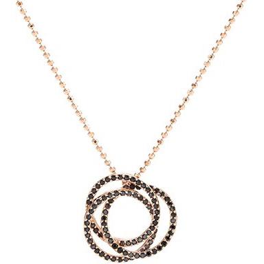 Image of   Sif Jakobs Otranto pendant rosaforgyldt med sorte zirkoner