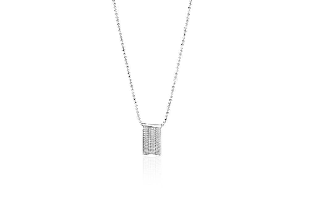 Dinami Sølv Halskæde med Brillant SJ-P0040-CZ/90