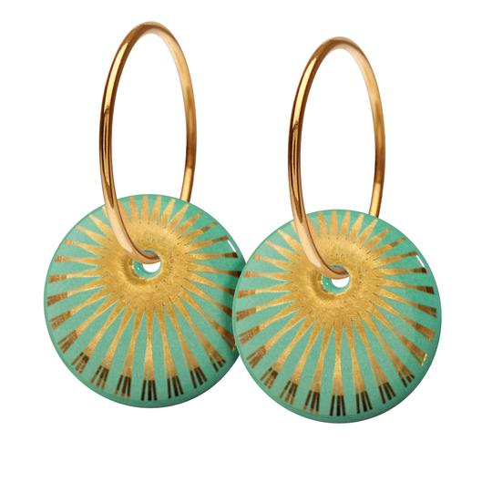 Scherning Splash Leaf Gold Forgyldt Sølv Øreringe med Porcelæn