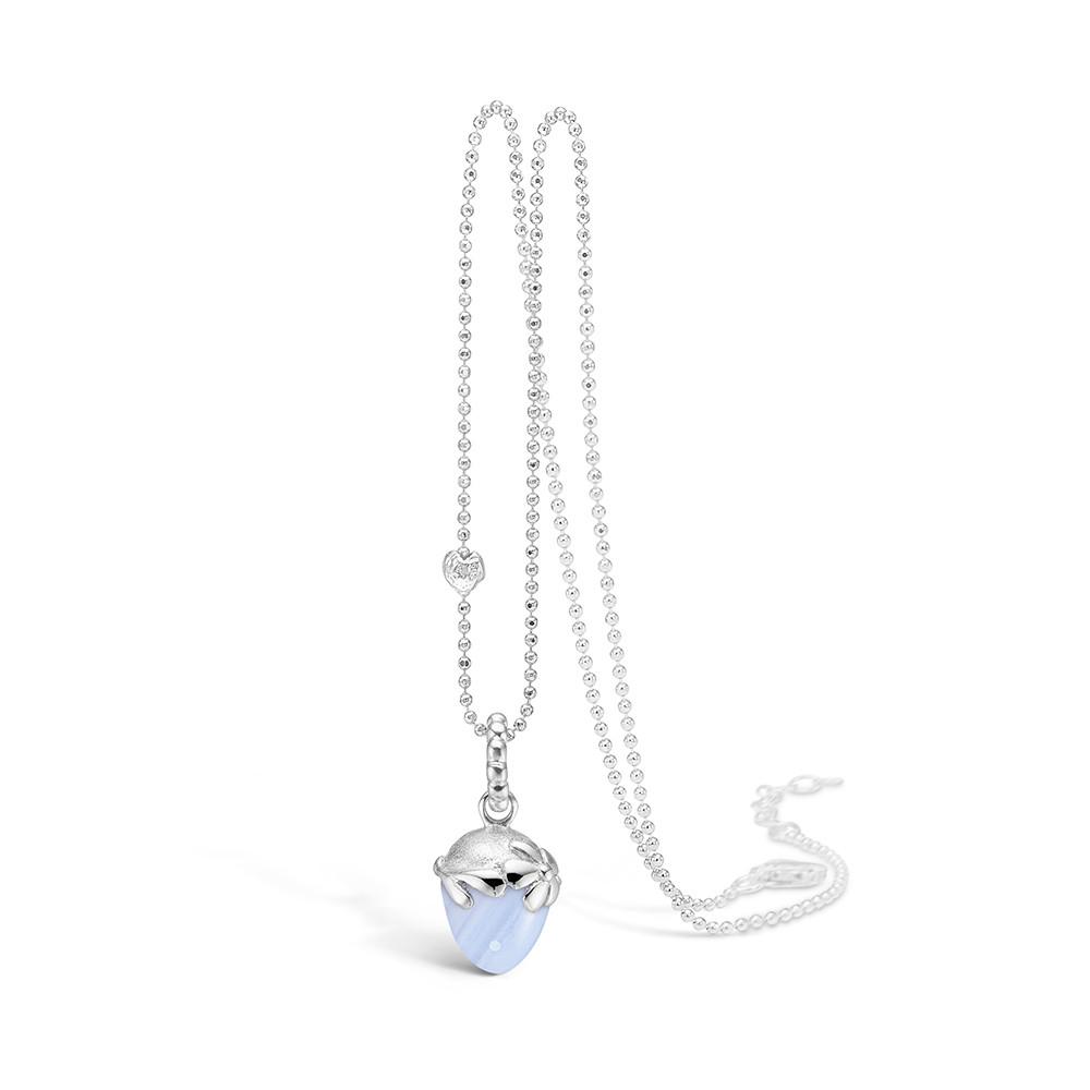 Blossom Sølv Halskæde med Blue Lace 21332011-80