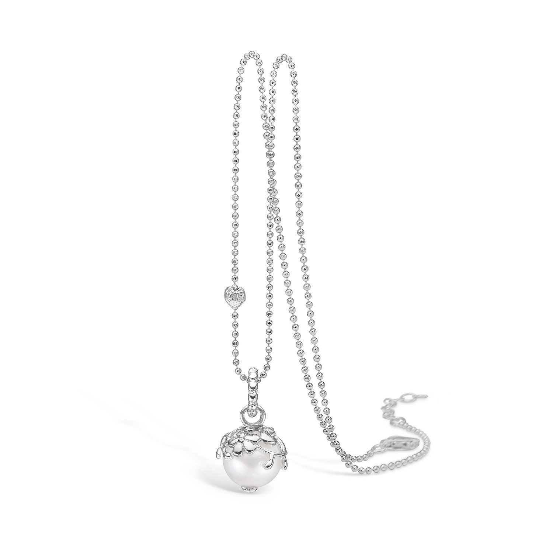 Blossom Sølv Halskæde med Perle og Diamant 21331032-45