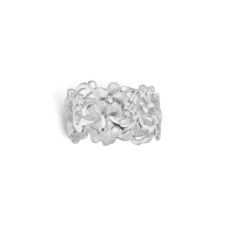 Image of   Blossom Ring i Sterling Sølv med Blomstermotiv 21621225
