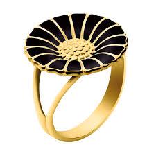 Image of   Daisy Forgyldt Sølv Ring fra Georg Jensen med Sort Emalje