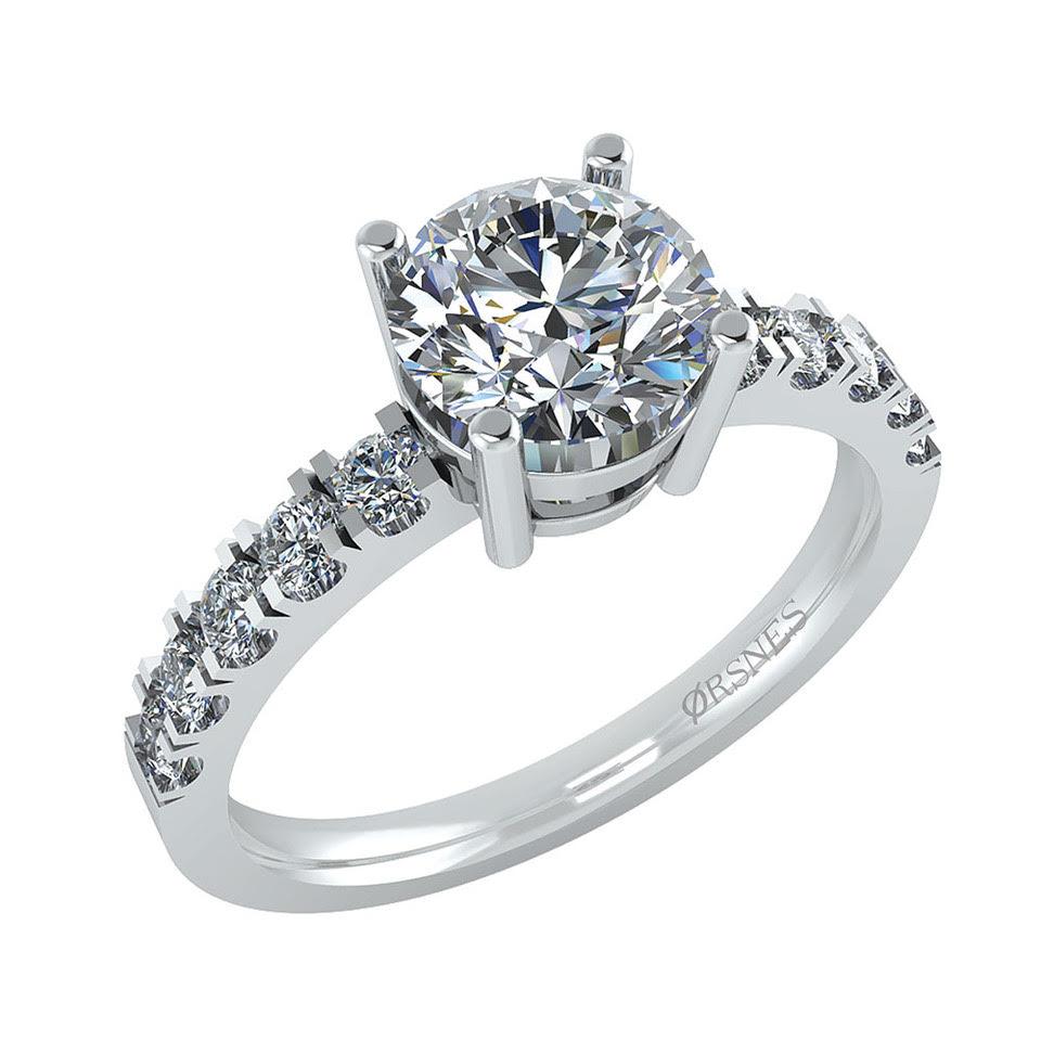 Image of   14 Karat Hvidguld Ring fra Henrik Ørsnes Design med Brillanter 1,83 Carat W/SI