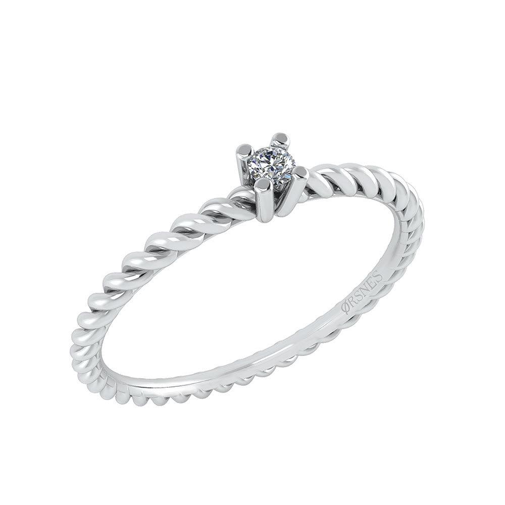 Image of   14 Karat Hvidguld Ring fra Smykkekæden med Diamant DMN0345WG