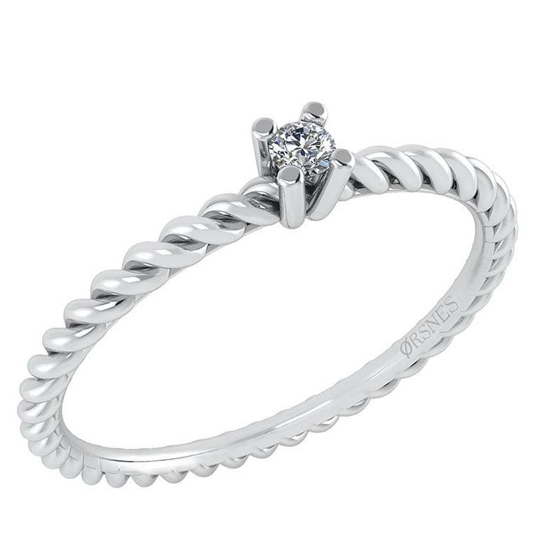 14 Karat Hvidguld Ring fra Smykkekæden med Diamant DMN0345WG