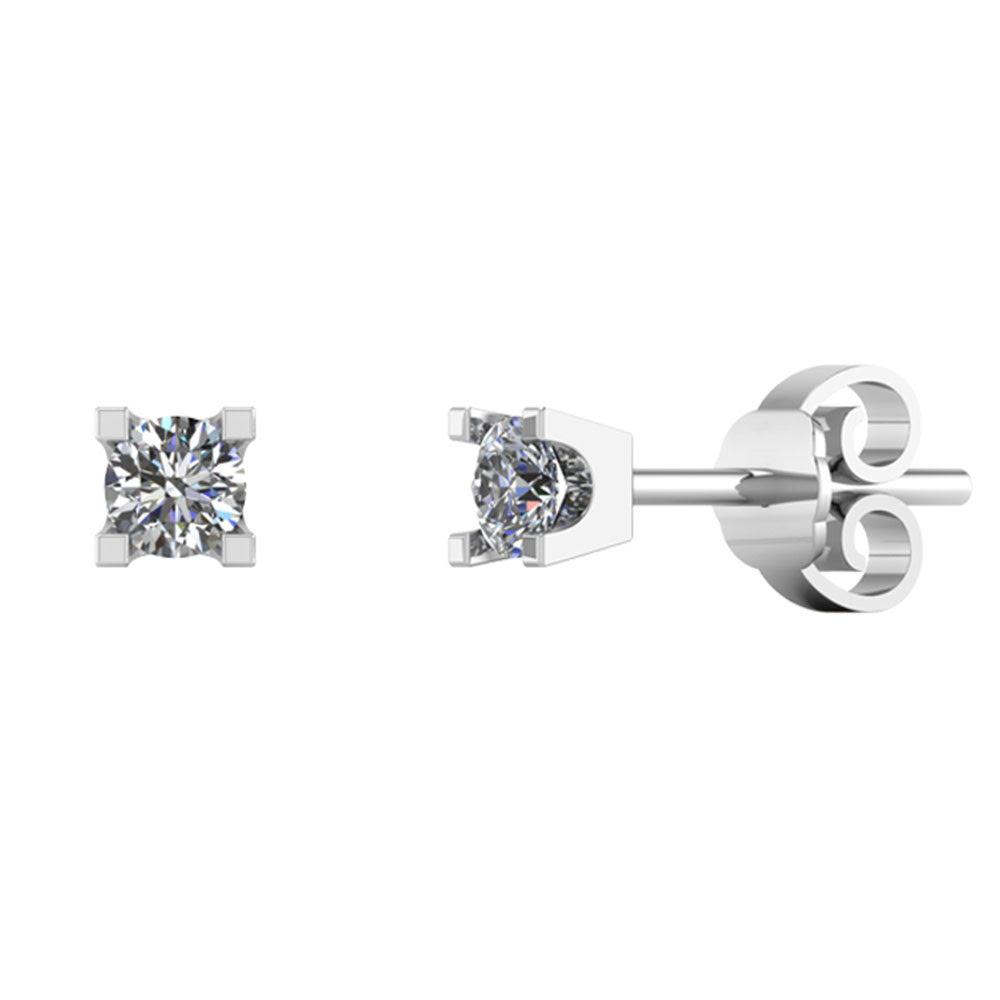 Smykkekæden 14 Karat Hvidguld Øreringe med Diamanter 0,104 Carat TW/SI