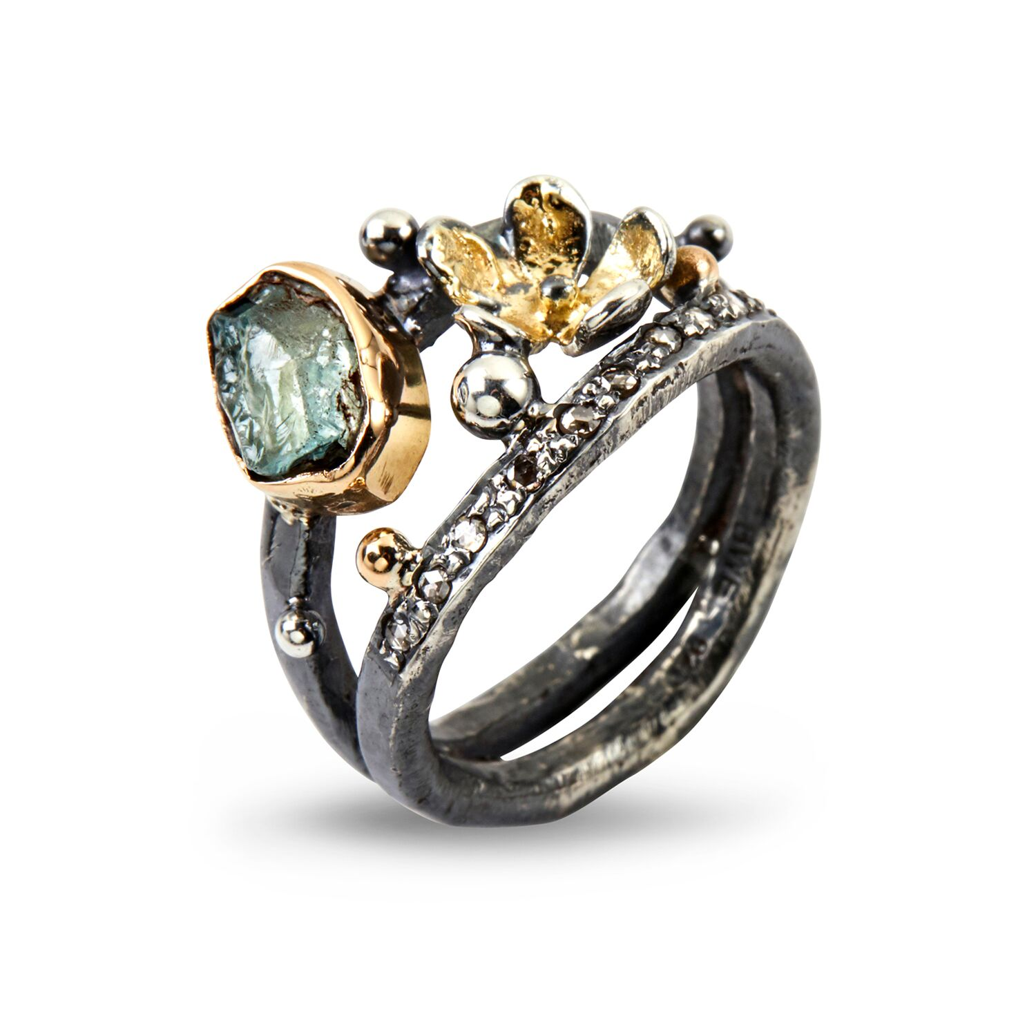 Image of   By Birdie Dubeca Aqua Flower Ring i Sterling Sølv med 14/18 Karat Guld, Aquamarin og Diamant 0,15 Carat