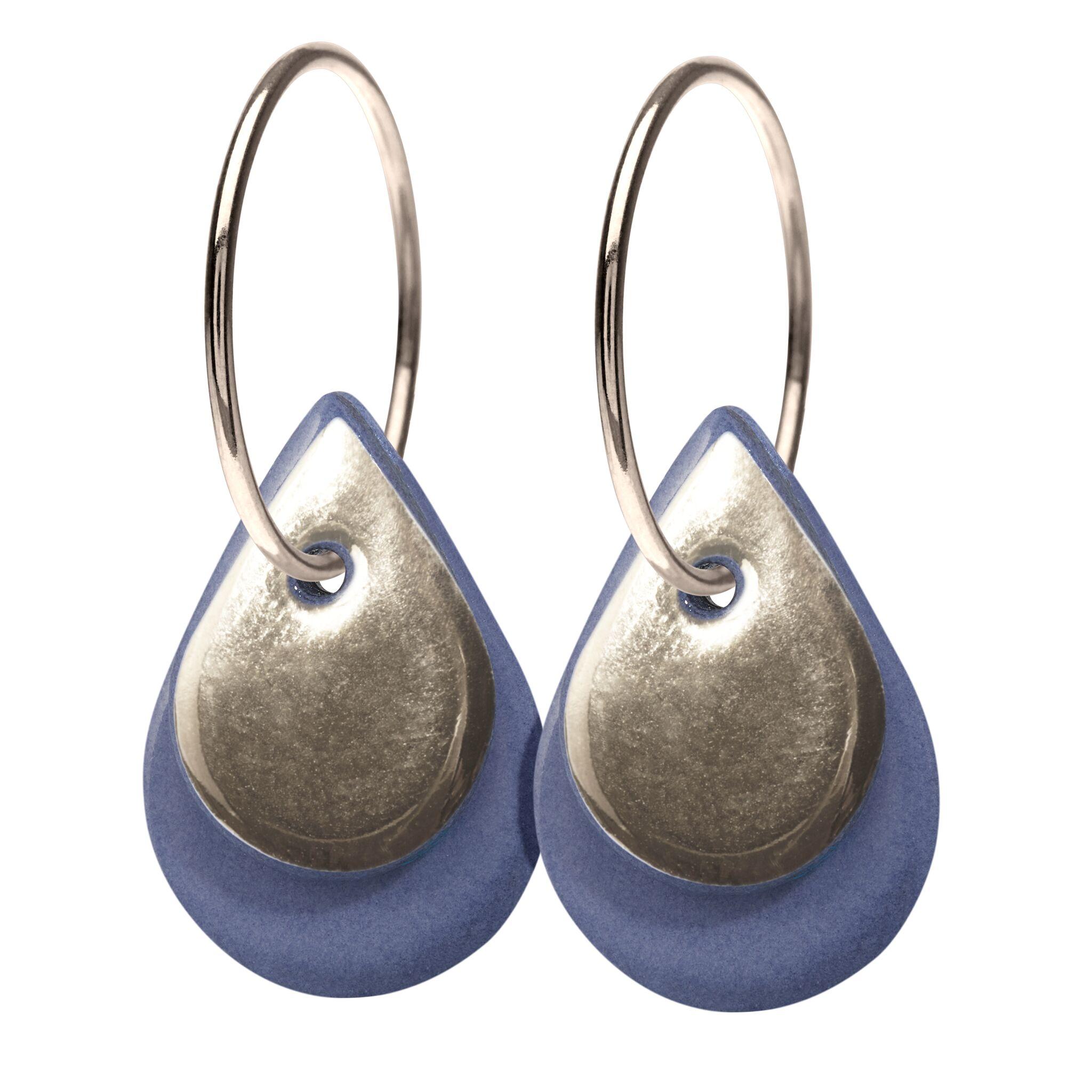 Scherning Halo Teardrop Lavender Sterling Sølv Øreringe med Porcelæn