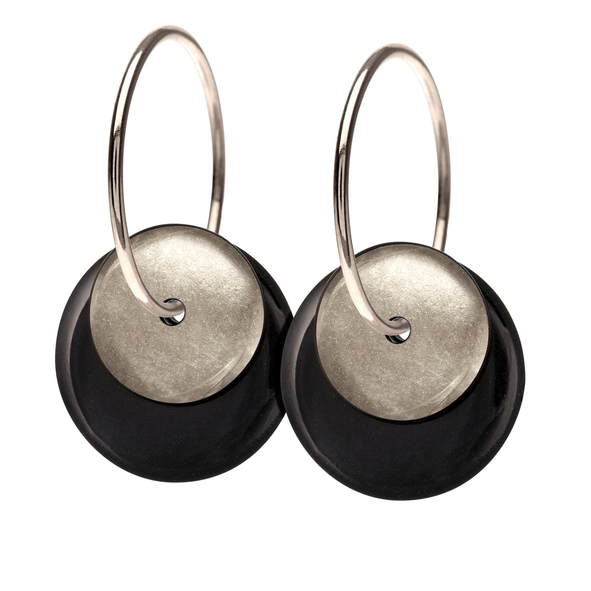 Scherning Halo Black Silver Øreringe i Sterling Sølv